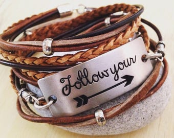 Message Bracelet Motivational Quote Leather Wrap Bracelet Gift for Her Girlfriend Gift Follow Your Arrow Quote Bracelet Boho Gypsy Indie