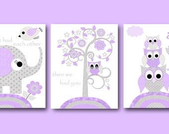 Gray Purple Canvas Wall Art Nursery Quotes Elephant Decor Owls Wall Art Baby Girl Wall Decor Baby Girl Wall Art Nursery Wall Decor set of 3
