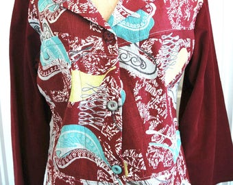 For Vintage Barkcloth Lovers - Up-cycled Jacket with Colors to Swoon Over!
