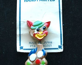 "1950s Trembler Hand Painted & Carved Wood Pin from Japan - ""Cool Cat"""