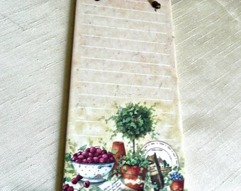 Porcelain Memo Plaque - Grocery List Pad - Note Plaque - Inspirational Quotes -Still Life Decorated - Marbled Beige Tile -Leather Strap Loop