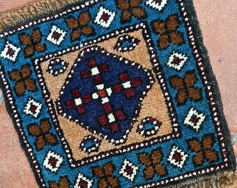 Area Rug - Small Square Rug - Table Centerpiece - Hand Knotted - Fringed - Turkish Rug - Geometric - Blues - Wool Pile - Cottage Chic Decor