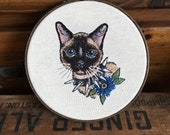 Custom pet portrait - one of a kind embroidery hoop or banner -Hand Embroidered Pet Portrait. Animal Hoop Art. Hand Stitched Pet Art.