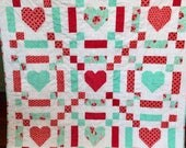 Lap, Throw, Couch, Toddler Hearts Quilt Blanket Aqua Red White Blue  Floral Girl Patchwork Modern