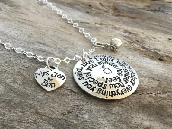 Personalized Teacher Necklace Sterling Silver Thank You Gift for Teachers  Care Christmas Gifts Hand stamped High School Back to School