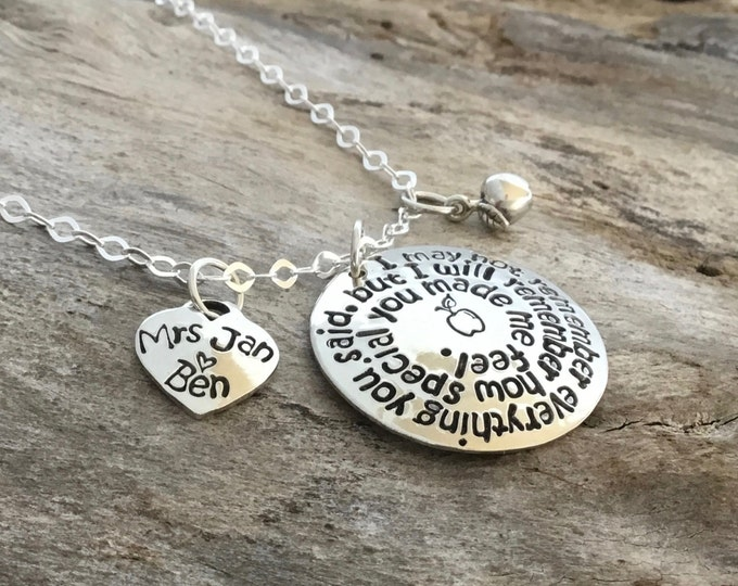 Personalized Teacher Necklace   Sterling Silver   Thank You Gift for Teachers    I will remember how special you made me feel   Teacher gift