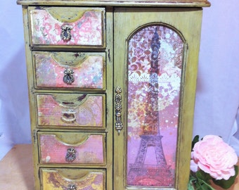 Tall Gold Jewelry Box Armoire, Vintage French Jewelry Armoire Cabinet, Eiffel Tower Red Jewelry Storage Box,  Paris Jewelry Organizer Box