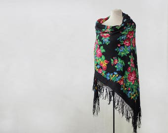 Russian shawl, black with with roses and field flowers, folk art, large wool challis, piano shawl, gypsy shawl, boho throw warm for winter