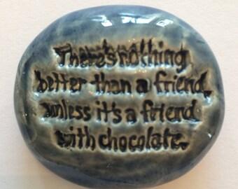 FRIENDSHIP Pocket Stone - Ceramic - DENIM BLUE Art Glaze - Inspirational Art Piece