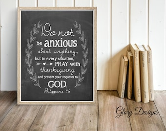 Bible verse, Scripture Art, scripture printable, Do not be anxious, Philippians 4:6, wreath printable, Printable, Chalkboard style