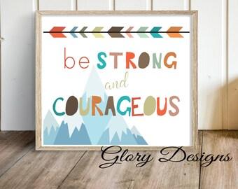 Printable, Be strong and courageous printable, Inspirational quote, Boy's room printable, Wall Decor, Bible verse, Kids room art work