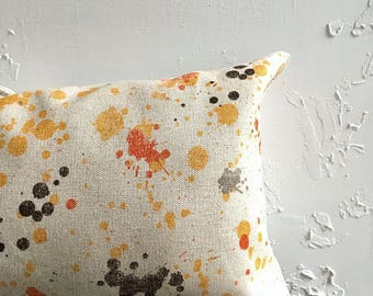 Paint Splatter Lumbar Pillow, 12x18 or 12x20 Citrus Orange Pillow, Decorative Pillow Cover, 80s Abstract Art Pillow