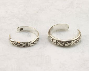 Set of Two Toe Rings - Sterling Silver Toe Rings - Adjustable - Knuckle Ring - Midi Ring - Toe Jewelry - Foot Jewelry - Toe Ring Jewelry