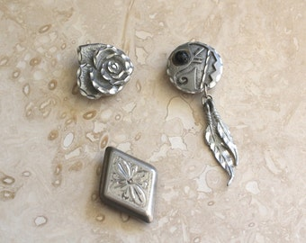 Button covers, pewter button covers, vintage button covers, southwest style button cover, rose button cover, concho button cover