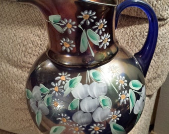Vintage Fenton Cannonball Enameled Cherries and Little Flowers Pitcher