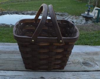 Produce market basket large handles Walnut wood
