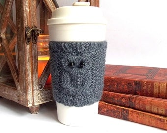 Knit Owl Coffee Cup Cozy. Knitted Cup Cozy. Hand Knit Tea Cup Cosy.