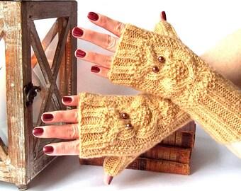 Knit Owl Gloves. Knit Fingerless Gloves. Knitted Owl Gloves. Knit Mittens. Owl Mittens. Wrist Warmers. Winter Gloves.