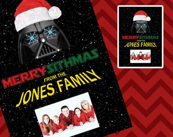 Christmas Photo Card - Custom - Star Wars - Darth Vader - Merry Sithmas - DOWNLOAD PRINTABLE Photo Card