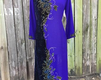 Vintage ROYAL Blue Cheongsam Maxi with Gold and Velvet floral Details size Medium // Asian Mandarin Collar Dress with Waist Slits Qipao