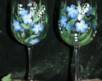 Hand Painted Wine glasses (Set of 2) - Spring Bouquet