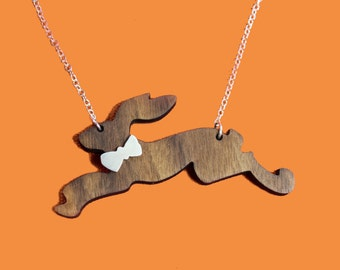 Party Animals  - wooden hare necklace with sterling silver bow tie and chain