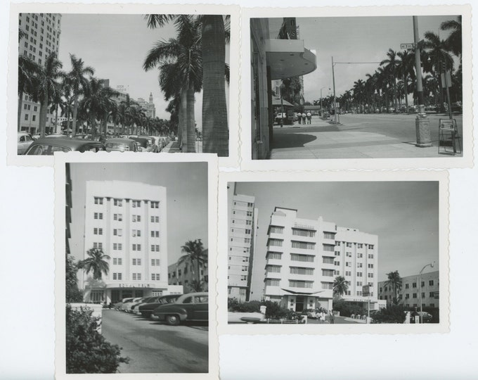 Biscayne Blvd. Miami, FL; Royal Palm Hotel, c1950s: Set of 4 Vintage Snapshot Photos (71537)