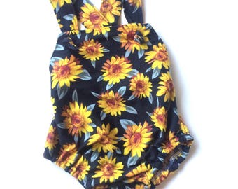 Baby Girl Romper Sunflowers Summer Outfit