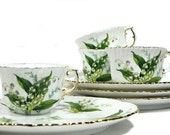 Four Hammersley Bone China Dessert Snack Sets Lily of the Valley