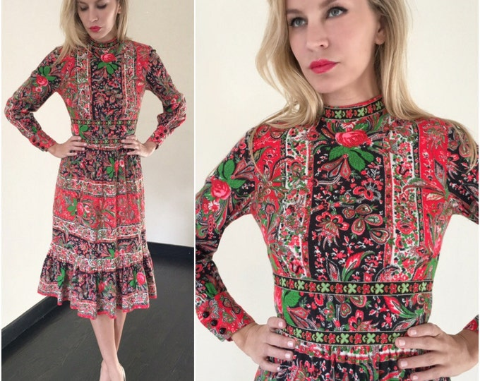Vintage Romanian Gypsy Midi Dress
