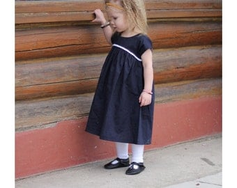 Navy Dress for Girls 12 months 2t 3t 4t 5t Made to Order
