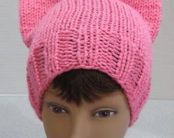 Handmade Knit Pink Pussyhat, pussycat hat, Pussy Hat, fits most, American made acrylic yarn, soft acrylic yarn