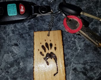 Wooden Squirrel Paw Print Key Chain