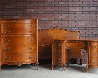 Antique Bedroom Set / Antique Full Bed / Tall Chest of Drawers / Desk / Mirror by Mt Airy