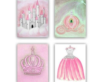 Baby Girl Nursery, Pink, Grey, Nursery Decor, Princess Nursery, Girls Wall Art, Nursery prints, Kids Decor, Kids wall Art, Princess wall Art