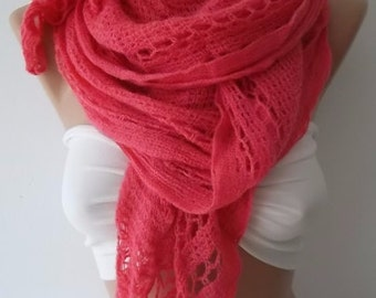 Christmas Gift Holiday Gift Scarf, Pink scarf-Fashion accessories-For her-Gift -Winter scarf-women scarf