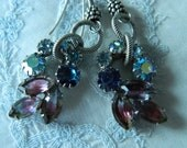 Assemblage Earrings Blues and Pinks Aumbry Rhinestones by 58diamond