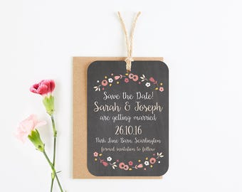 Berry Floral Chalkboard Save the Date tag - Autumn Fall Wedding