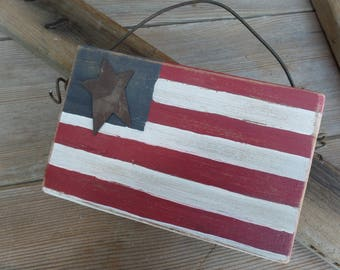 American Flag Decor, Rustic flag, Fourth of July decor, Rustic American flag, primitive flag, reclaimed wood, hand painted American flag, US