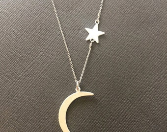 Sterling Silver Crescent Moon and Star necklace, I love you to the moon and back necklace, mother daughter jewelry, gift for mother, muse411