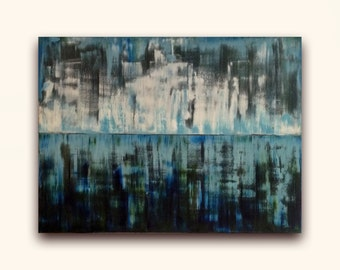 Abstract Painting, Beyond Blue, Landscape, Seascape, Oil Painting, Canvas Wall Art, Original Art, Oil Painting Artwork, Fineart Canvas