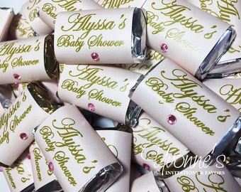 Bridal Shower Mini Candy Bar Wrappers - Miniature Chocolate Favors - Blush Pink & Gold - Wedding, Baby Shower, Sweet Sixteen, Birthday