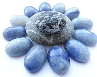 2pcs Blue Aventurine Cabochons 18 x 13 mm Aventurine Cabochon Oval Gemstone Natural Stone Cabochon Flat back Craft Supplies (2)