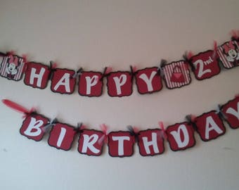 Minnie Mouse Birthday Package-Minnie Mouse Birthday  banner-red and white Minnie Mouse