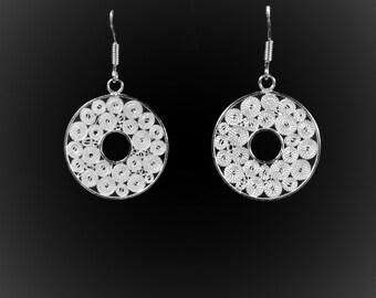 Moonlight earrings in silver embroidery