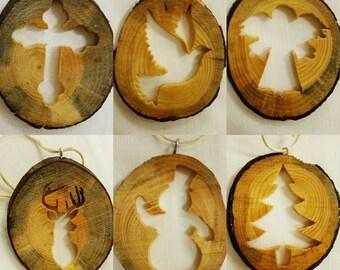 Rustic Wood Christmas Ornaments, Wood Ornaments, Rustic Ornament, Handcrafted Ornament, Christmas Tree Ornaments, Christmas Decor