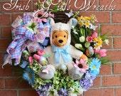 Lamb Winnie the Pooh Easter Wreath, Spring Wreath, Gerbera Daisy, Hydrangea