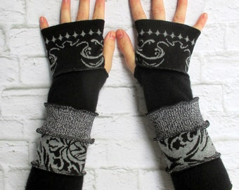 Black Cotton Gloves - Boho Chic - Gypsy Style - Upcycled Clothing - Hipster Gloves - Arm Warmers - Vegan - Trendy Gift Ideas - Black & Gray