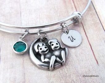 Couple on the Moon Stainless Steel Charm Bangle, Personalized Hand Stamped Initial Birthstone Love to the Moon Charm Bangle Bracelet