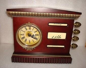 Seth Thomas Wood Perpetual Calendar Clock Battery Operated / Mantel Clock (Sale Price)